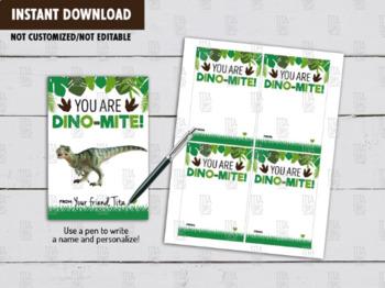 Dinosaur Holder Card DIY Printable, Non Candy Dinosaur Valentines Day Exchange