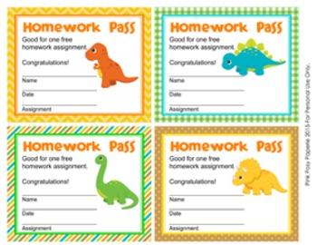 Dinosaur Homework Passes