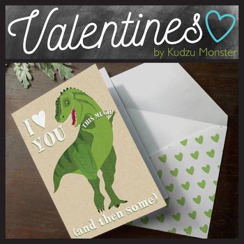 Dinosaur I Love You This Much Valentine Card