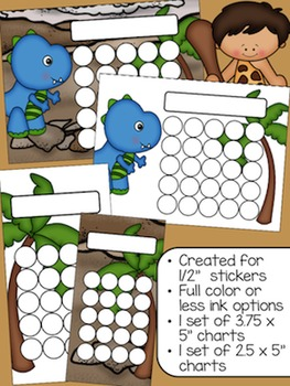 Dinosaur Sticker Incentive Charts - Full Color and Less-Ink Options
