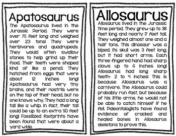 Dinosaur Information Cards