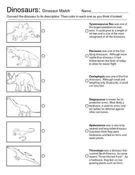 Dinosaur Introduction and Matching Activity