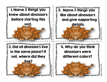 Dinosaur Journal Task Cards