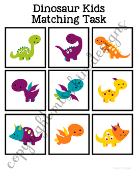 Folder Game: Dinosaur Kids Matching for Students with Autism & Special Needs