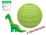 Dinosaur Language Arts and Counting by 2's Pages