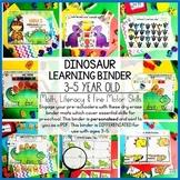 Dinosaur Printable Learning Busy Book Preschool Age 3-5 - EDITABLE
