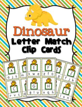 Dinosaur Letter Match Clip Cards