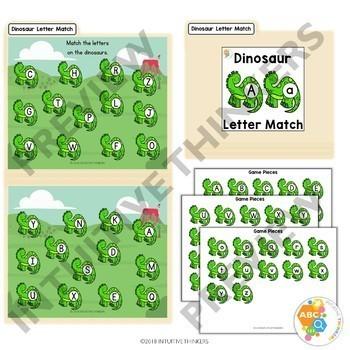 Dinosaur Letter Match File Folder Activity