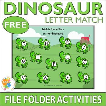 Free Dinosaur Letter Match File Folder Activity