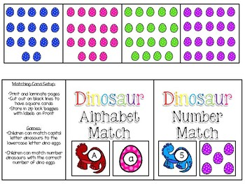 Dinosaur Letter Match & Number Match Games