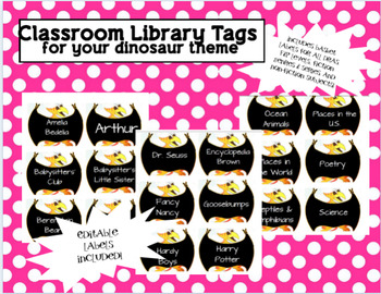 Dinosaur Library Tags