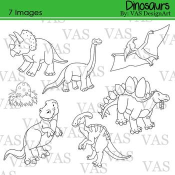 Dinosaur Line Clip Art clipart