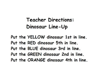 Dinosaur Line-Up/Ordinal Numbers/Color Recognition/Listening Activity