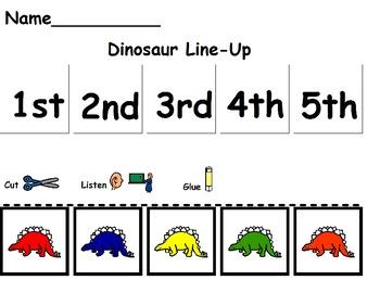 Dinosaur Line-Up/Ordinal Numbers/Color Recognition/Listeni