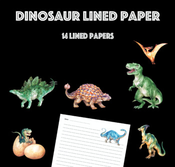 Dinosaur Lined Paper Pack with Realistic Images of Dinosaurs