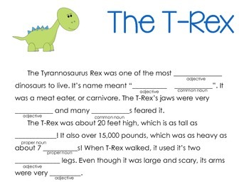 dinosaur mad libs common and proper nouns adjectives tpt. Black Bedroom Furniture Sets. Home Design Ideas