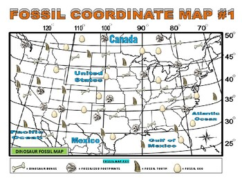 Dinosaur Map (Coordinates / Laude / Longitude) on