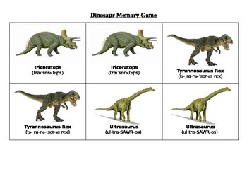 graphic about Dinosaur Matching Game Printable known as Dinosaur Matching Recreation