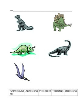 Dinosaur Matching Game and Assessment