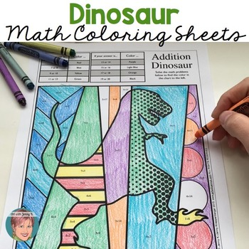 Dinosaur Math Fact Review Coloring Sheets by Art with