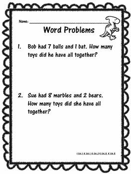 Dinosaur Math Assessment, Activities, and Worksheets All Grade 1 Math Standards