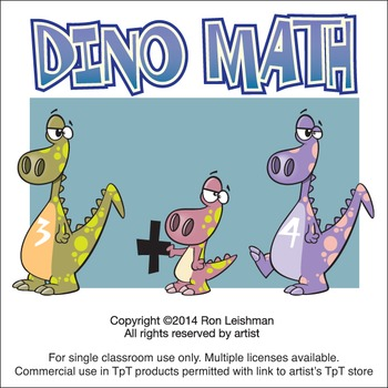 Dinosaur Math Cartoon Clipart