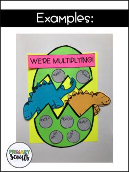 Dinosaur Math Craft - Editable, K-3