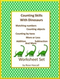 Dinosaur Math Cut and Paste Worksheets Counting Addition and Subtraction