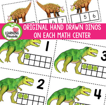 DINOSAUR MATH: 7 Kindergarten Centers (Numbers to 10)