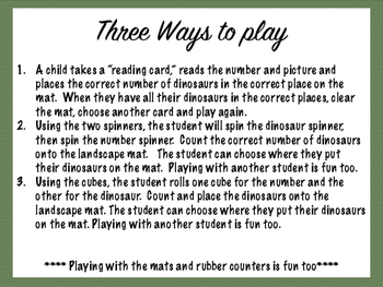 Dinosaur Math Mats