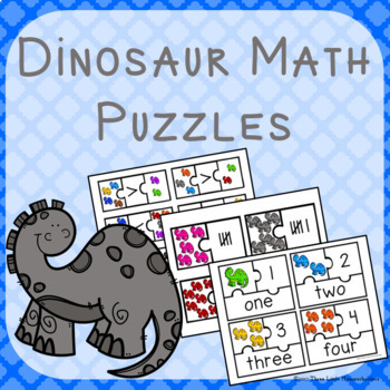Dinosaur Math Puzzles - Numbers Words Tallies and more