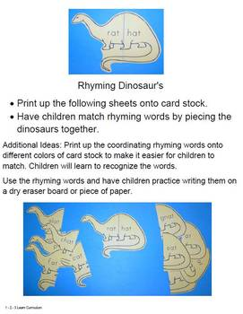 Dinosaur Math, Science and Literacy Ideas