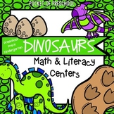 Dinosaur Math and Literacy Centers for Preschool, Pre-K, a