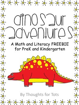 Dinosaur Math and Literacy FREEBIE for PreK and Kindergarten