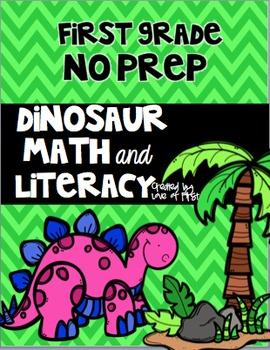 Dinosaur Math and Literacy No Prep First Grade Pack