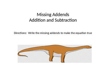 Dinosaur Missing Addends