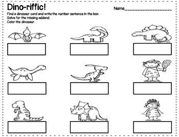 Dinosaur Missing Addends *FREEBIE*