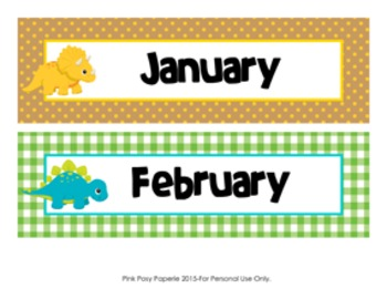 Dinosaur Monthly Calendar Headers