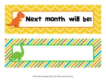 Dinosaur Monthly Calendar Headers