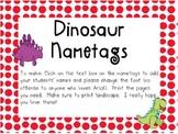 Dinosaur Name Tags with Yellow Border