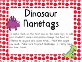 Dinosaur Name Tags with a Red Border