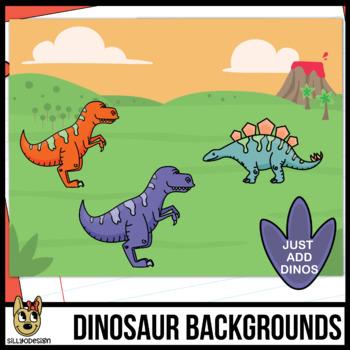 Dinosaur/Outdoor Background Scenes Clip Art