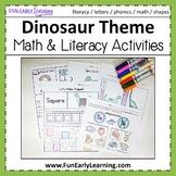 Dinosaur Literacy & Math No Prep Worksheets and Activities