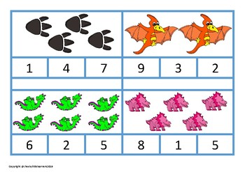 Dinosaur Number Clip Cards