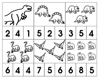Dinosaur Number Clips