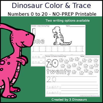 Dinosaur Number Color and Trace