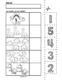 Dinosaur Number Cut & Match Worksheets | Numbers 1-5
