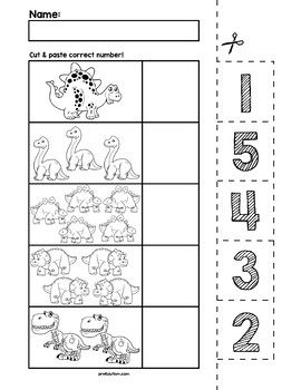 Dinosaur Number Cut & Match Worksheets | Numbers 1-5 by preKautism