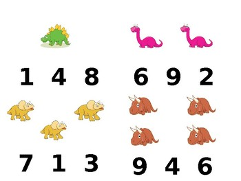Dinosaur Number Identification 1-10 Clipcards