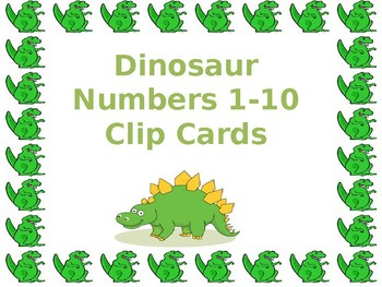 Dinosaur Number Identification 1-10 Clipcards